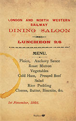 Luncheon Menu from dining saloon, 1902